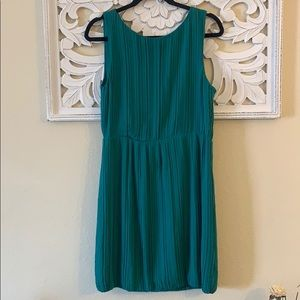 Theory Green Crimped Silk Dress